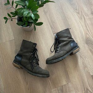 "UGG Washed Black ""Kilmer II"" Lace-Up Combat Boots"